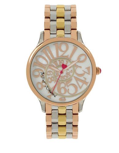 Betsey Johnson Tri-Tone Stainless Steel Link Bracelet Watch-MULTI-One Size