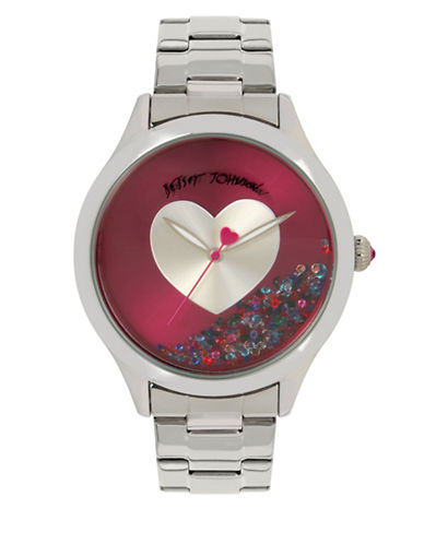 Betsey Johnson Analog Floating Stones and Heart Stainless Steel Bracelet Watch-SILVER-One Size