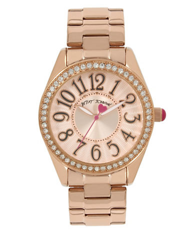 Betsey Johnson Rose Goldtone Stainless Steel Link Bracelet Watch-GOLD-One Size