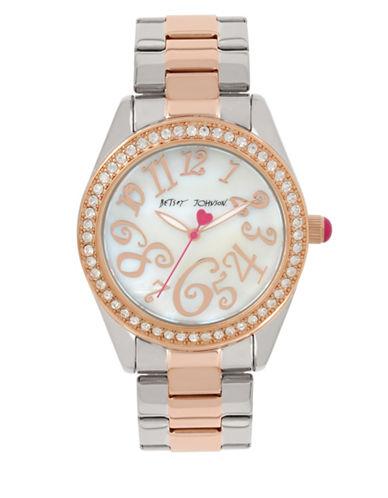 Betsey Johnson Two-Tone Stainless Steel Link Bracelet Watch-MULTI-One Size