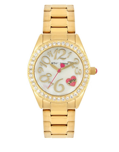 Betsey Johnson Analog Heart Tattoo Gold Stainless Steel Bracelet Watch-GOLD-One Size
