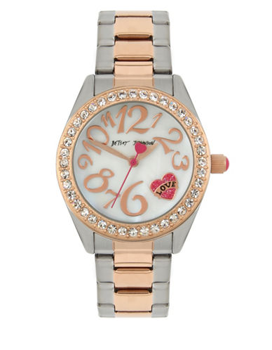 Betsey Johnson Analog Heart Tattoo Two-Tone Stainless Steel Bracelet Watch-GOLD-One Size