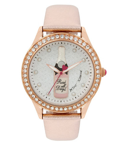 Betsey Johnson Rose All Day Rose Goldtone Stainless Steel Leather Strap Watch-ROSE GOLD-One Size