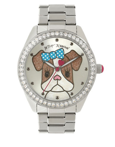 Betsey Johnson Analog Dog Stainless Steel Bracelet Watch-SILVER-One Size