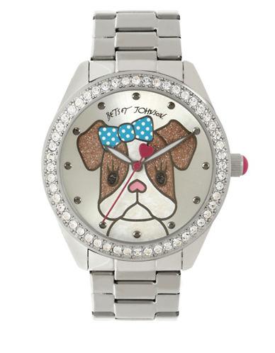Betsey Johnson Analog Dog Stainless Steel Bracelet Watch-SILVER-One Size
