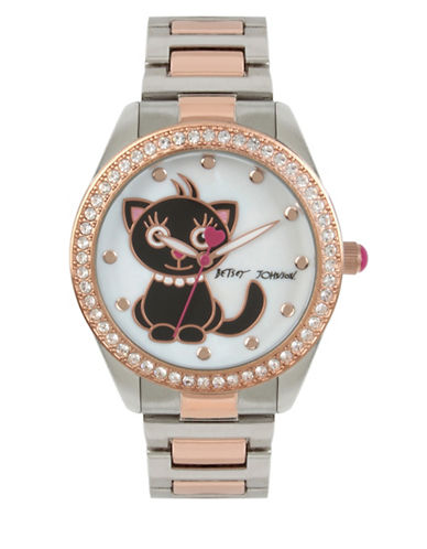 Betsey Johnson Analog Cat Two-Tone Stainless Steel Bracelet Watch-MULTI-One Size