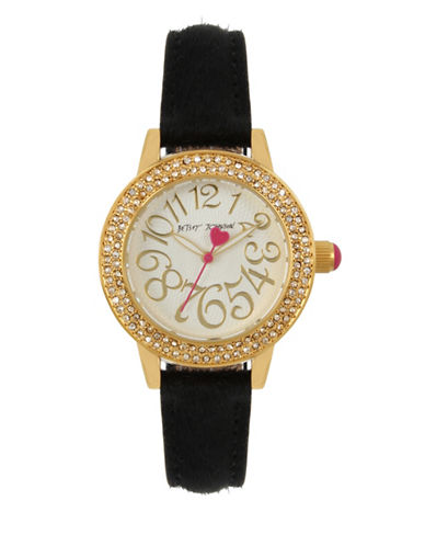 Betsey Johnson Analog Gold & Black Fur Strap Watch-BLACK-One Size