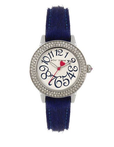 Betsey Johnson Stainless Steel Blue Fur Strap Watch-BLUE-One Size
