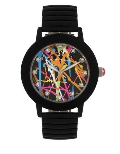 Betsey Johnson Analog Graffiti Black Rubberized Stainless Steel Band Watch-BLACK-One Size