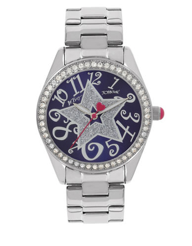 Betsey Johnson Analog Glitter Star Stainless Steel Bracelet Watch-SILVER-One Size