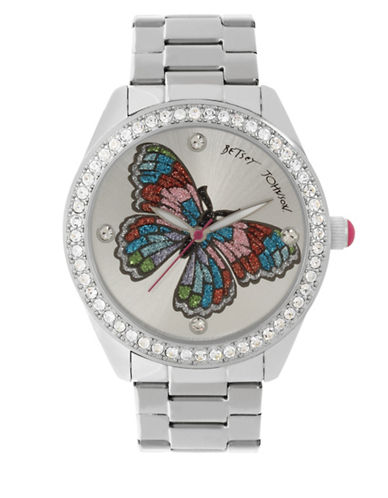 Betsey Johnson Analog Butterfly Stainless Steel Bracelet Watch-SILVER-One Size