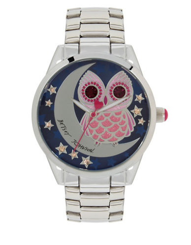 Betsey Johnson Analog Owl & Moon Stainless Steel Bracelet Watch-SILVER-One Size