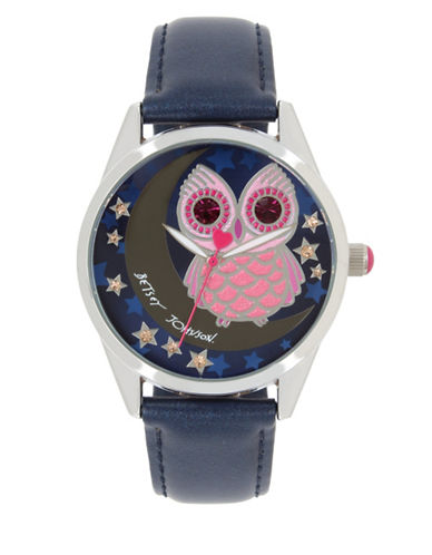 Betsey Johnson Owl & Moon Motif Dial Stainless Steel Leather Strap Watch-MULTI-One Size