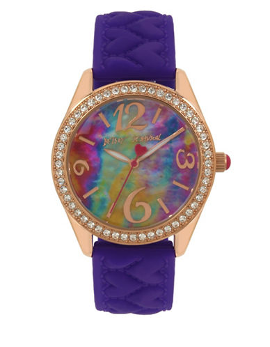 Betsey Johnson Analog Rose Gold Tie-Dye Purple Silicone Strap Watch-MULTI-One Size