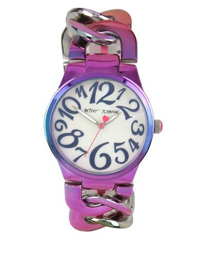 Betsey Johnson Analog Oil Slick Link Bracelet Watch-MULTI-One Size