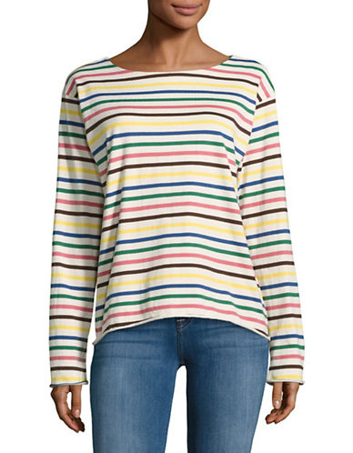 Mih Jeans Bright Stripe Sailor Top-RAINBOW-X-Small