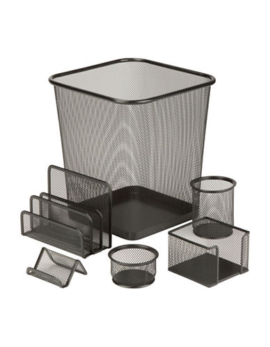 Honey Can Do Six-Piece Steel Mesh Desk Set-BLACK-One Size