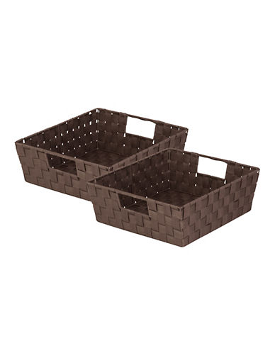 Honey Can Do Two-Piece Woven Trays Set-BROWN-One Size