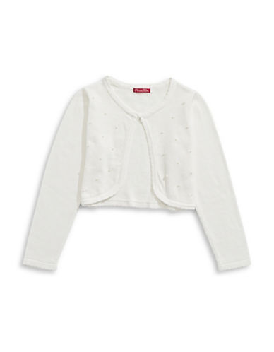 Princess Faith Pearl Shrug Cotton Cardigan-IVORY-3