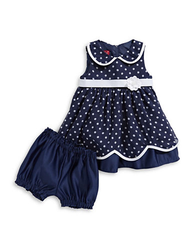 Princess Faith Two-Piece Polka Dot Dress and Bloomers Set-NAVY-12 Months