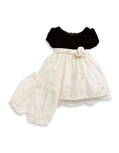 Princess Faith Velvet and Lace Fit-and-Flare Dress-WHITE-12 Months