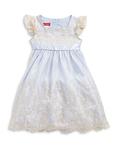 Princess Faith Embroidered Floral Overlay Dress-BLUE-6
