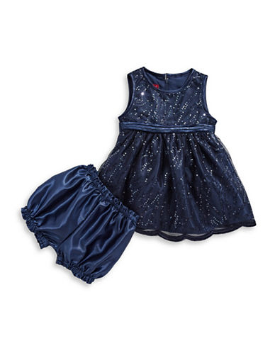 Princess Faith Allover Sequin Fit-and-Flare Dress-NAVY-12 Months