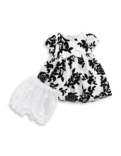 Princess Faith Flocked Floral Fit-and-Flare Dress-BLACK-24 Months