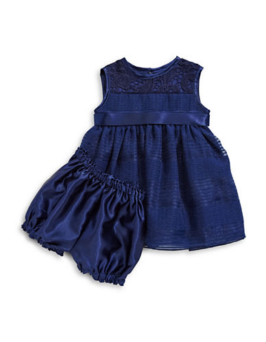 Princess Faith Crochet Yoke Shadow Stripe Dress-NAVY-12 Months
