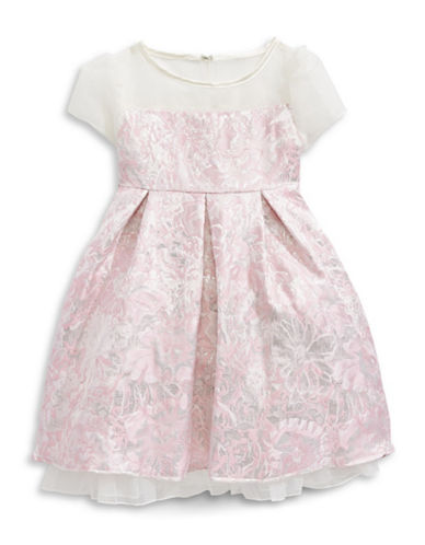 Princess Faith Brocade Illusion Fit-and-Flare Dress-PINK-6X