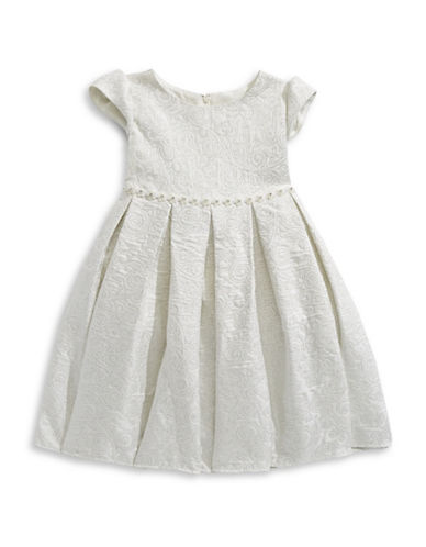 Princess Faith Beaded Brocade Dress-WHITE-6X