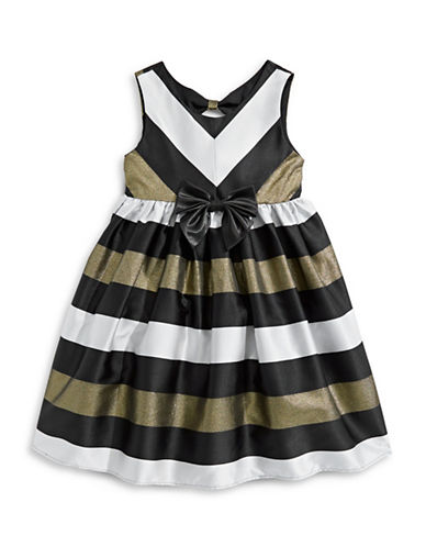 Princess Faith Striped Fit-and-Flare Dress-BLACK-3