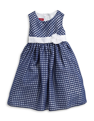 Princess Faith Checkered-Print Dress-NAVY-3