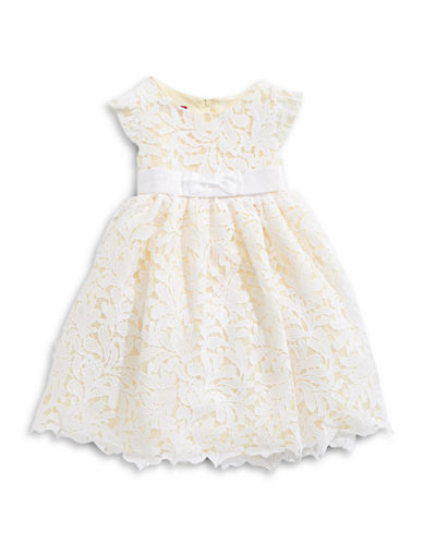 Princess Faith Flutter-Sleeve Lace Dress-YELLOW-2