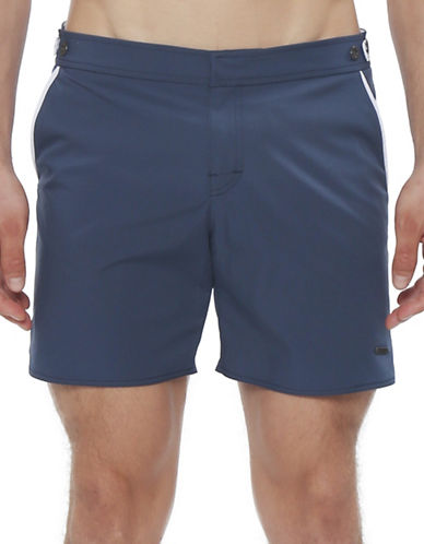 Parke & Ronen Catalonia Solid Swimming Trunks-MID BLUE-31