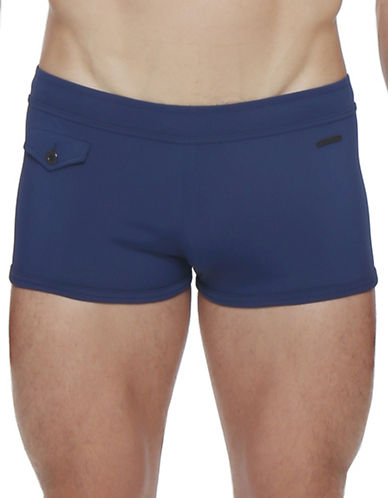 Parke & Ronen Ibiza Square-Cut Solid Boxer Briefs-NAVY-Large