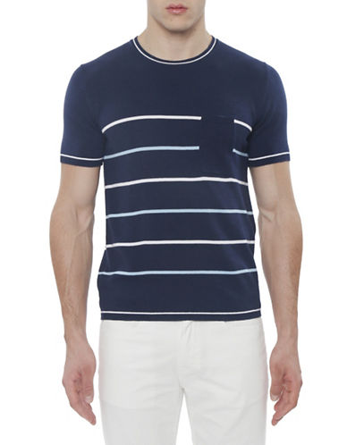 Parke & Ronen Sky Port Striped Pocket T-Shirt-NAVY BLUE-Medium