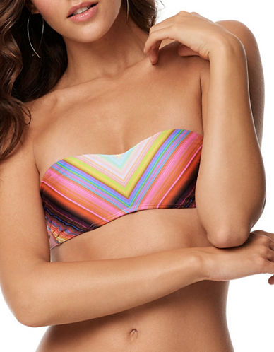 Pily Q Underwire D-Cup Bandeau Bikini Top-PINK MULTI-Large