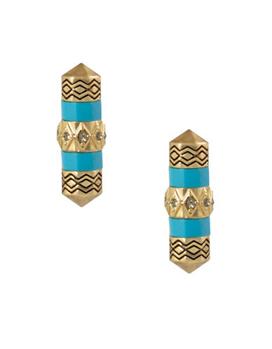 House Of Harlow 1960 Prana Goldtone Stud Earrings-BLUE-One Size