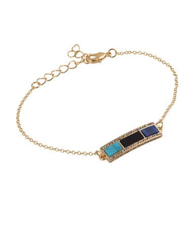 House Of Harlow 1960 Goldtone Bar Chain Bracelet-BLUE-One Size