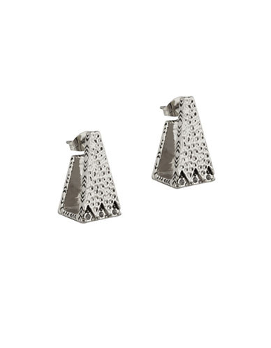 House Of Harlow 1960 Silvertone Hammered Scutum Trapezoid Earrings-SILVER-One Size