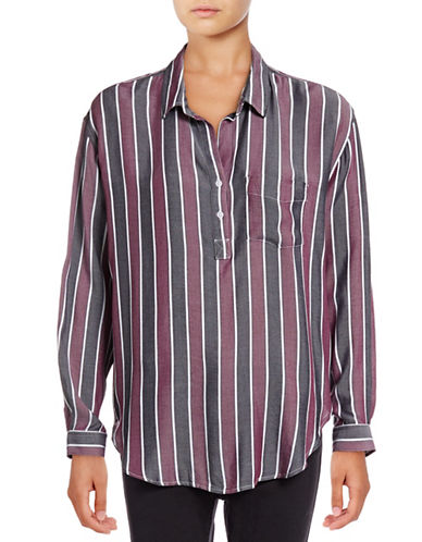 Rails Striped Collared Shirt-RED-Small