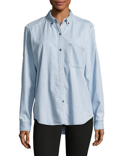 Rails Embroidered Denim Shirt-BLUE-Small