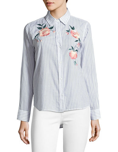 Rails Nevin Stripe Floral Embroidered Shirt-BLUE MULTI-Small