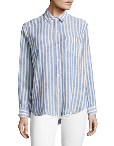 Rails Charlie Mykonos Striped Linen-Blend Shirt-BLUE MULTI-Large