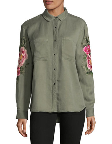 Rails Linen-Blend Shirt with Patches-GREEN-Medium