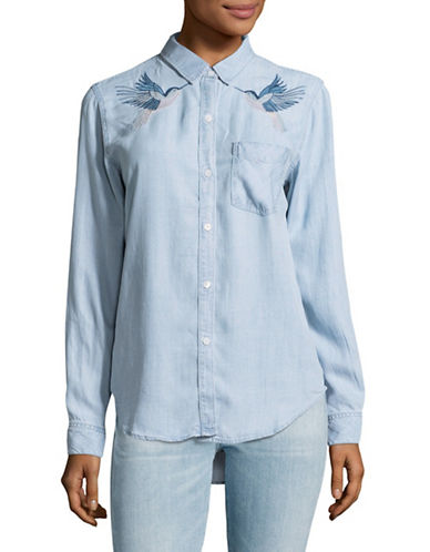 Rails Ingrid Hummingbirds Button-Down Shirt-BLUE-Small