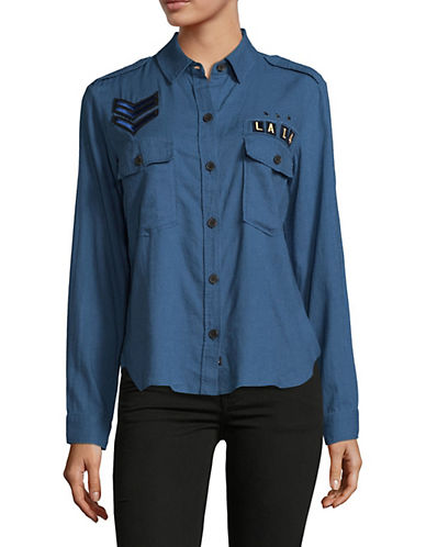 Rails Patched Banks Military Button-Down Shirt-INDIGO-Small