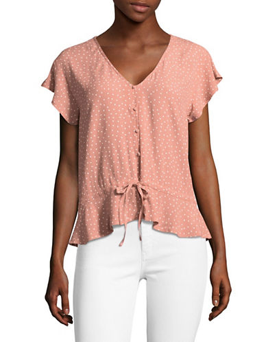 Rails Frilly Polka Dot Shirt-PINK-Large