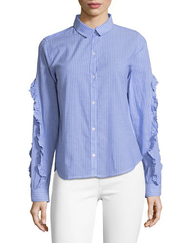 Rails Frilled Pinstripe Shirt-BLUE-Large